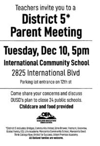 Meeting in Oakland on school closings